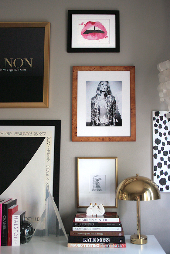 small-shop-gallery-wall-femme-modern-kate-moss-ellsworth-kelly-aestate-lips-Paris-sketch-brass-mushroom-lamp-design-books
