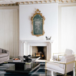 Catherine Kwong SF Showcase 2013, 1970s euro glam, living room, fireplace, Milo Baughman-like chairs, brass, Cy Twombly-inspired floor