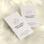 sabra lattos photography logo biz cards black foil stamp pale mauve by small shop