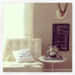 small shop instagram living room vignette Barcelona Saarinen antlers Prada