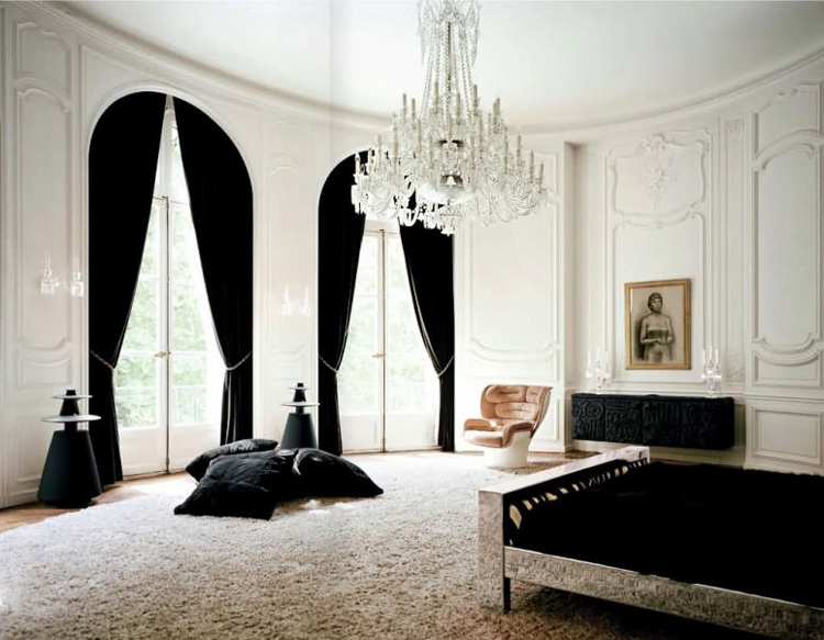 Lenny Kravitz Paris Apt Bedroom Black White Fur Glam Chandelier 1970s