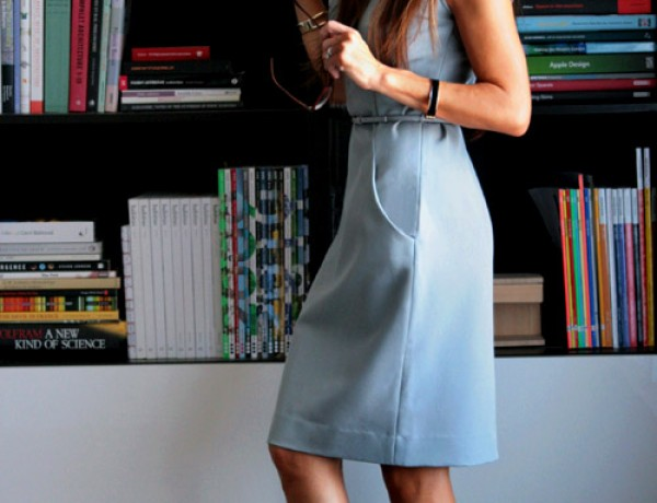 small-shop-for-MM-LaFleur-work-it-wear-gray-dress-black-miu-miu-sandals-bookshelves