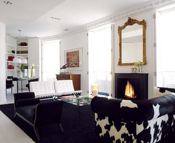 La vida eclectic in black white erika brechtel Black white gold living room