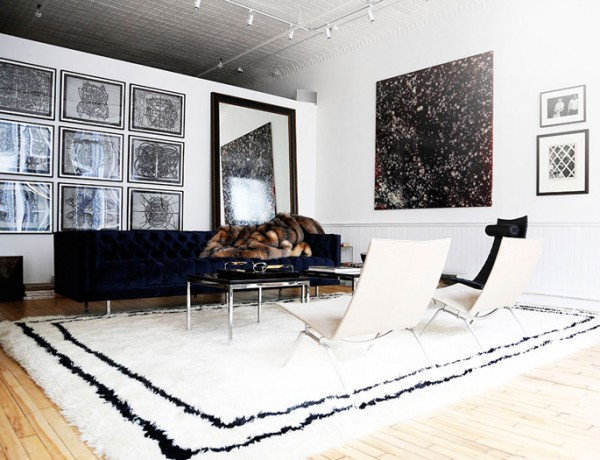 The-Apartment-Soho-white-black-loft-lounge-area-rug-art-fur-via-Harpers-Bazaar-photo-by-Kelly-Stuart