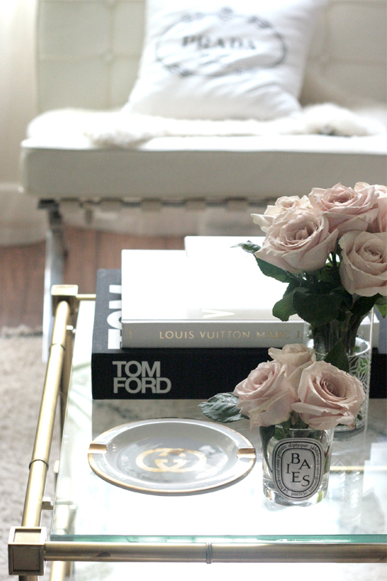 small-shop-living-room-coffee-table-black-white-gold-pink-roses-Gucci-Prada-Tom-Ford-LV
