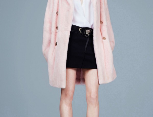 Versace-Pre-Collection-FW14-tough-femme-pink-fuzzy-coat-black-white