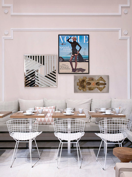 Vogue-Cafe-Printemps-Haussman-Paris-art-wall-seating-Bertoia-chairs