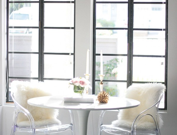 small-shop-Erika-Brechtel-breakfast-nook-black-pendant-white-tulip-table-acrylic-chairs-fur
