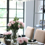 small shop Erika Brechtel vday dinner party table setting black white Stone Textile pink roses capiz pendant gold confetti