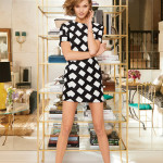 Karlie Kloss model home NYC Vogue mirrored wall brass etagere Narcisco Rodriguez dress