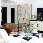 Nicole Cohen sketch 42 apartment living room black white checkered art glam oversized leather chairs