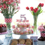 small shop Erika Brechtel daughter 5th birthday party afternoon sweets pink navy red dessert table cupcake tier flowers gingham tablecloth