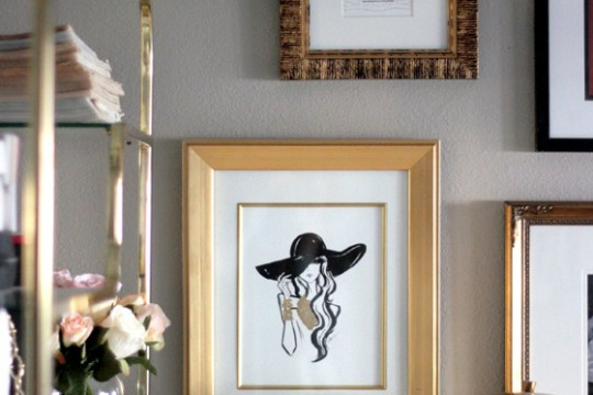 small-shop-giveaway-Anum-Tariq-fashion-illustration-Erika-Brechtel-gallery-wall-office-brass-mushroom-lamp