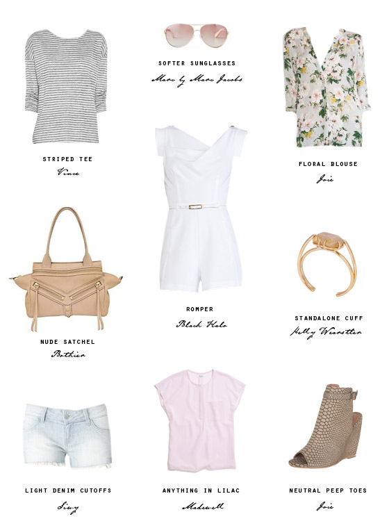 small-shop-spring-ready-closet-refresh-white-romper-floral-stripes-lilac-nude-denim-cutoffs-Joie-Botkier-Vince