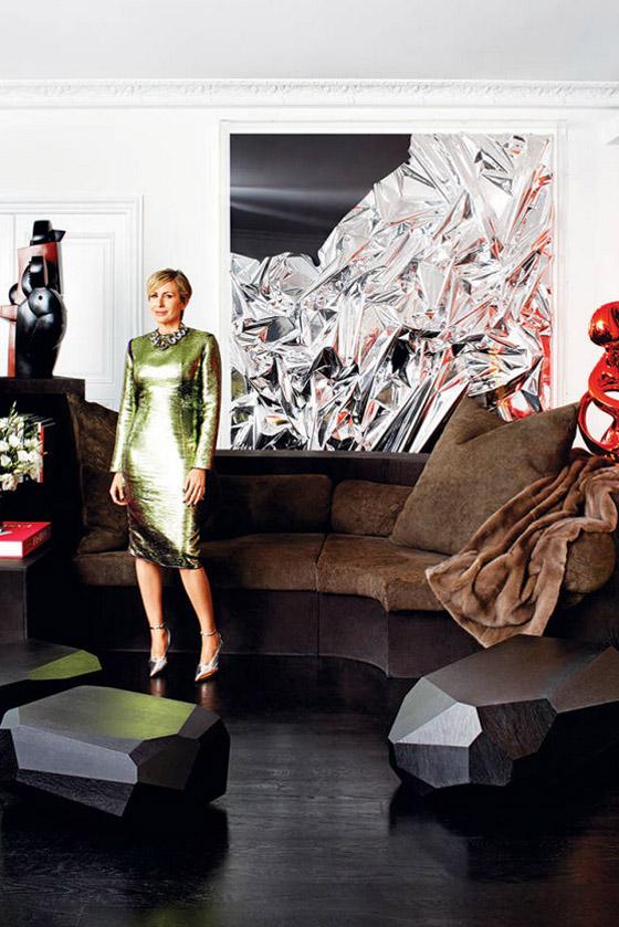 Carmen Busquets Paris aparment Anselm Reyle silver foil art Lanvin dress