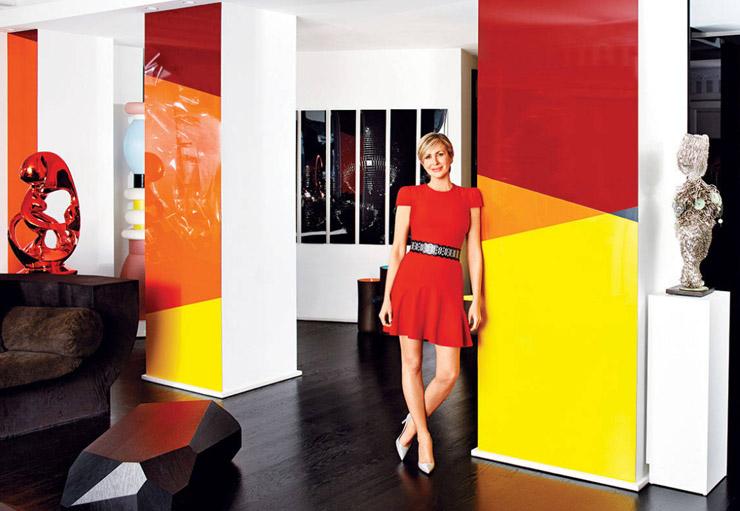 Carmen Busquets Paris aparment Daniel Buren installation red orange yellow