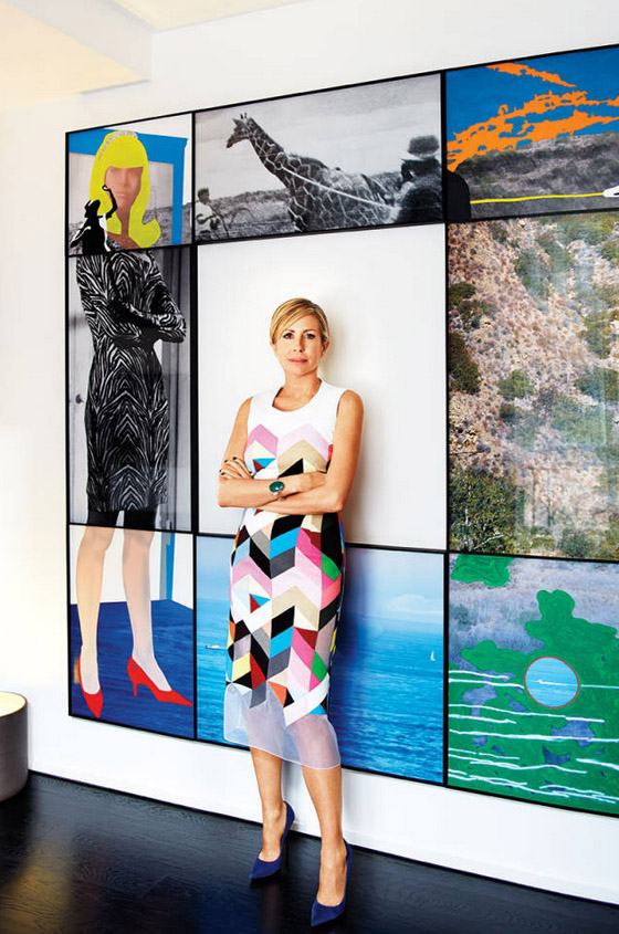 Carmen Busquets Paris aparment John Baldessari mixed media art Preen dress Manolo Blahnik
