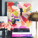 DIY kids abstract art Erika Brechtel daughter book stack brass lamp gallery wall