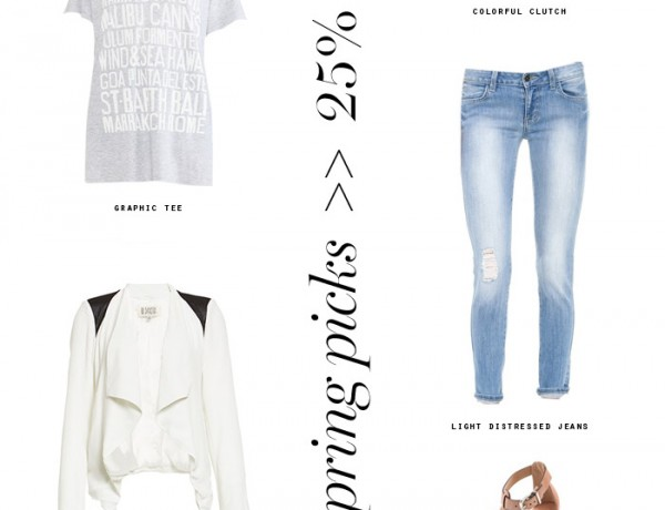 Erika Brechtel 5 spring picks 25% off graphic tee, lightweight jacket, distressed jeans, pastel clutch, neutral sandal