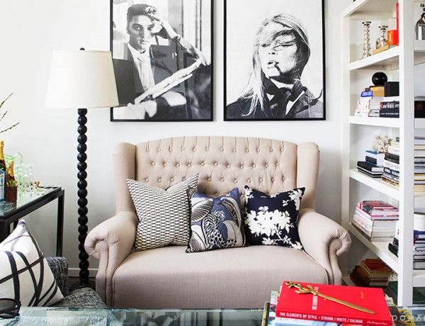 Hillary Kerr office settee Stone Textile DwellStudio pillows via Domaine