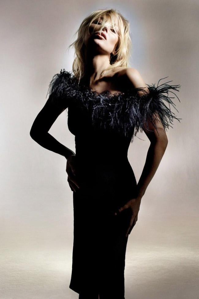 Kate Moss for Topshop Spring 2014 photo by Nick Knight black feathered dress