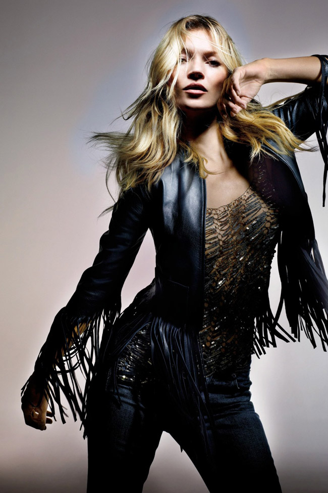 Kate Moss for Topshop Spring 2014 photo by Nick Knight black fringe jacket