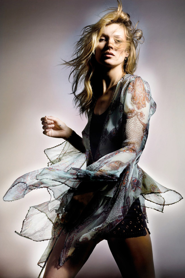 Kate Moss for Topshop Spring 2014 photo by Nick Knight sheer print blouse