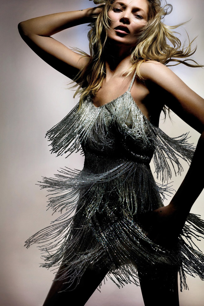 Kate Moss for Topshop Spring 2014 photo by Nick Knight silver fringe