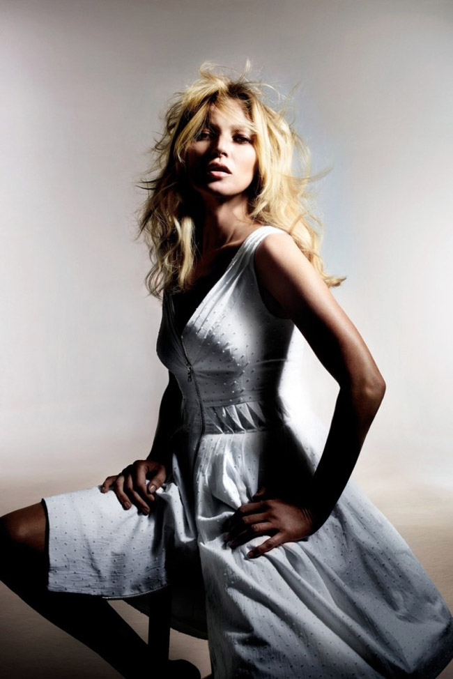 Kate Moss for Topshop Spring 2014 photo by Nick Knight swiss dot white dress