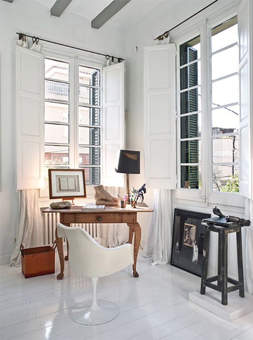 María Lladó Barcelona home neutral eclectic office nook antique desk Saarinen chair white wood floor