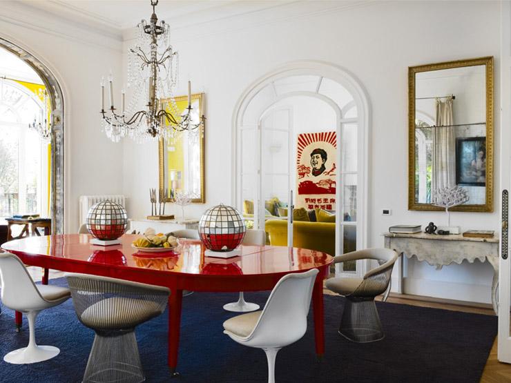 María Lladó Barcelona home traditional eclectic dining room eclectic disco balls Saarinen Platner