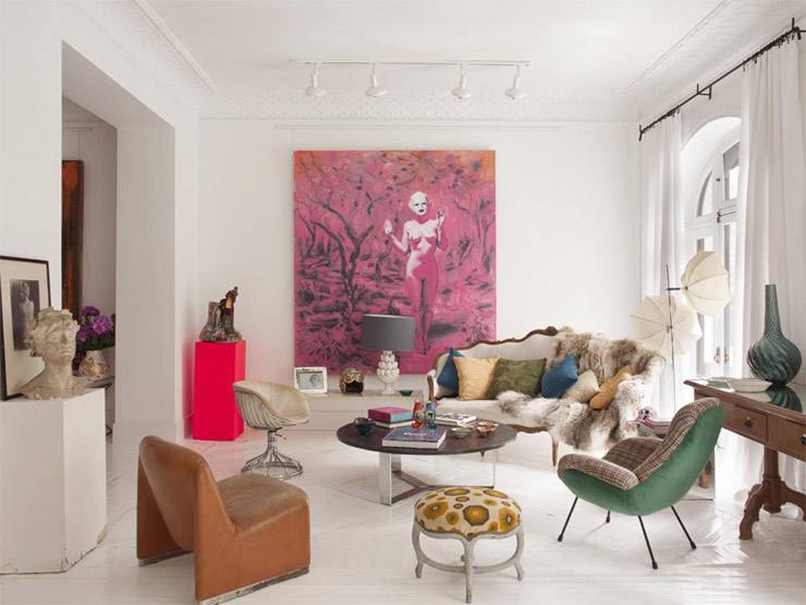 Mara Llad Madrid apt artsy eclectic living room
