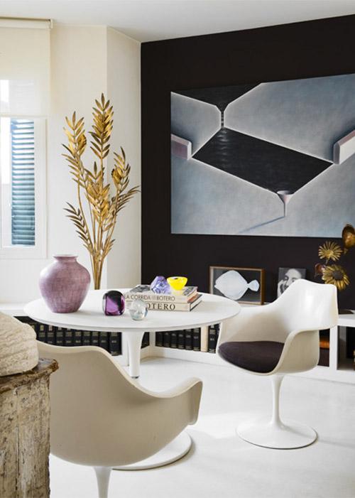 María Lladó Madrid apt classic eclectic dining room Saarinen