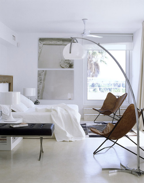 María Lladó Sotogrande home contemporary eclectic bedroom arc lamp