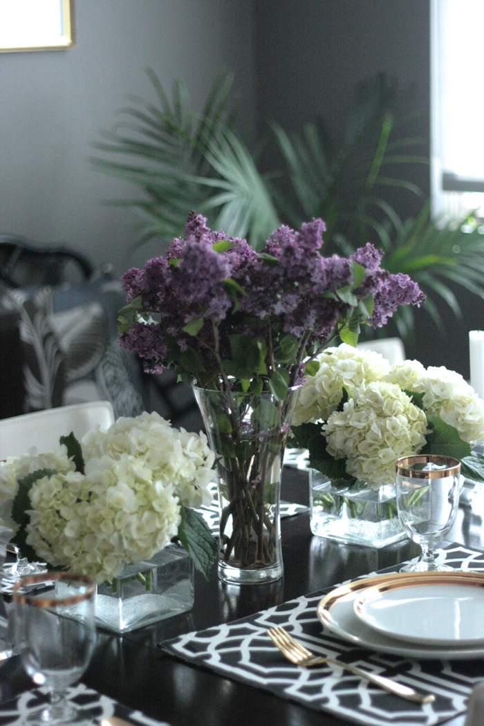 OC Family shoot Erika Brechtel behind the scenes dining room table fresh flowers lilac hydrangea
