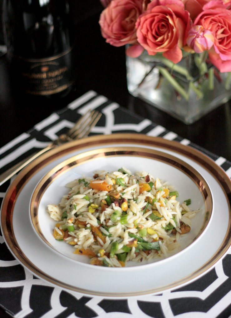 recipe orzo salad dried apricots pistachios ginger