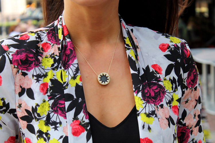 Erika Brechtel rStheCon outfit spring floral jacket House of Harlow pendant