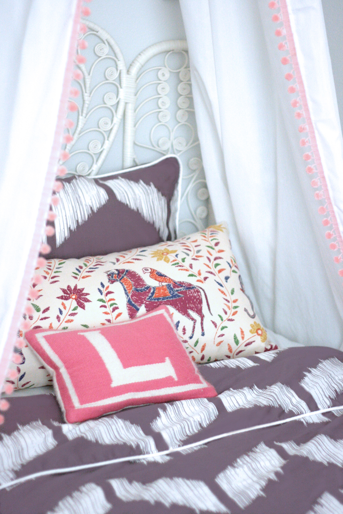 crane and canopy Erika Brechtel mommy and me daughters room Addison Purple duvet John Robshaw Jonathan Adler DIY canopy peacock headboard