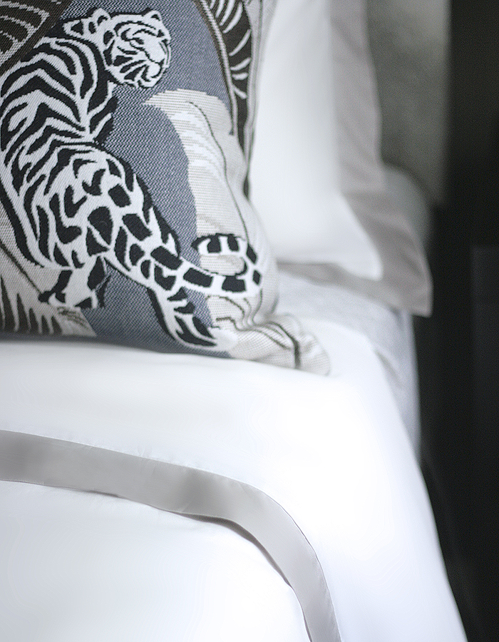 crane and canopy Erika Brechtel mommy and me master bedroom Linden Gray duvet DwellStudio pillow