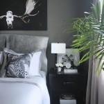 crane and canopy Erika Brechtel mommy and me master bedroom Linden Gray duvet antlers artwork cowhide headboard DwellStudio pillow nightstand linen drapes