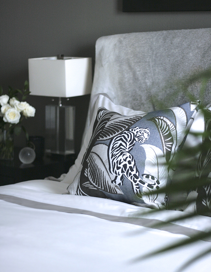 crane and canopy Erika Brechtel mommy and me master bedroom Linden Gray duvet cowhide headboard DwellStudio pillow