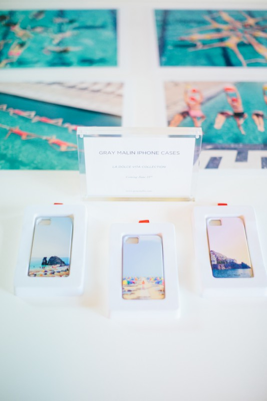 Gray Malin Aqua Glam launch party branded iPhone cases photo by Paige Jones