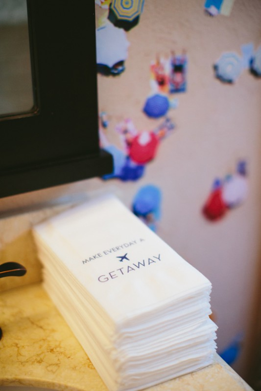 Gray Malin Aqua Glam launch party branded napkins photo by Paige Jones