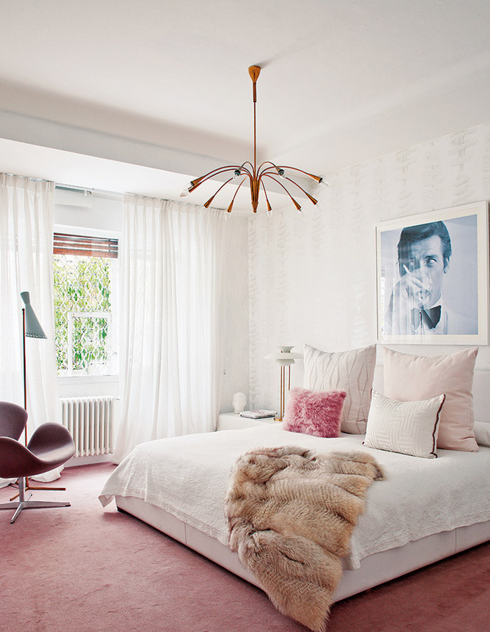 living-pink-Madrid-mod-apt-bedroom-white-ivory-blush-sputnik-James-Bond-art-fur