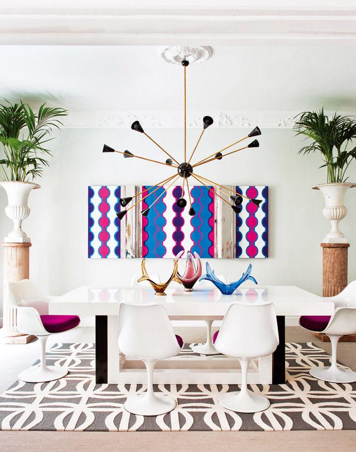 Living Pink Madrid Mod Dining Room Saarinen Chairs