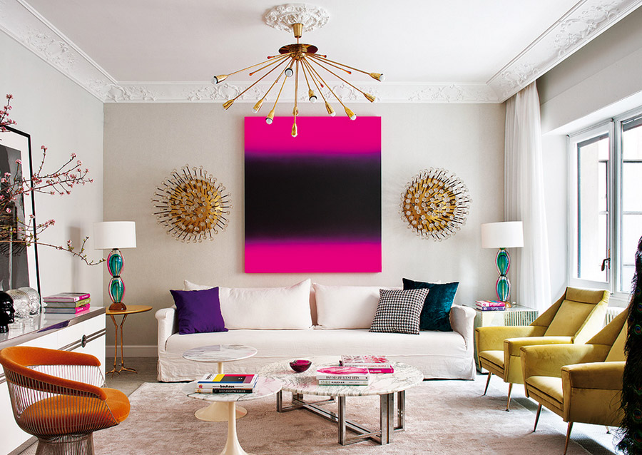 Living Pink Madrid Mod Living Room Brights White