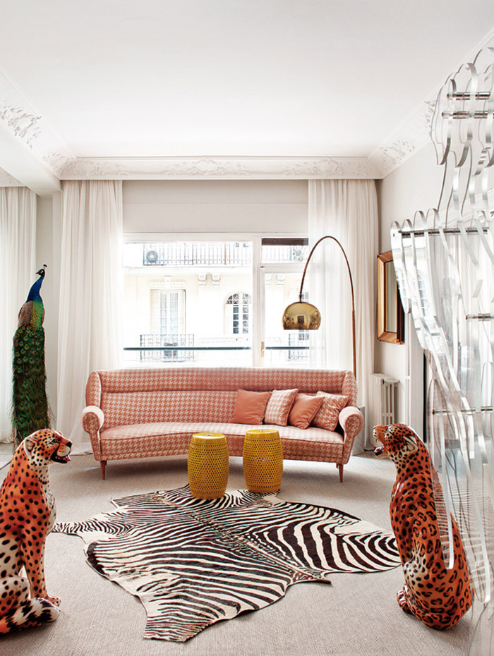 Living Pink Madrid Mod Living Room Zebra Houndstooth