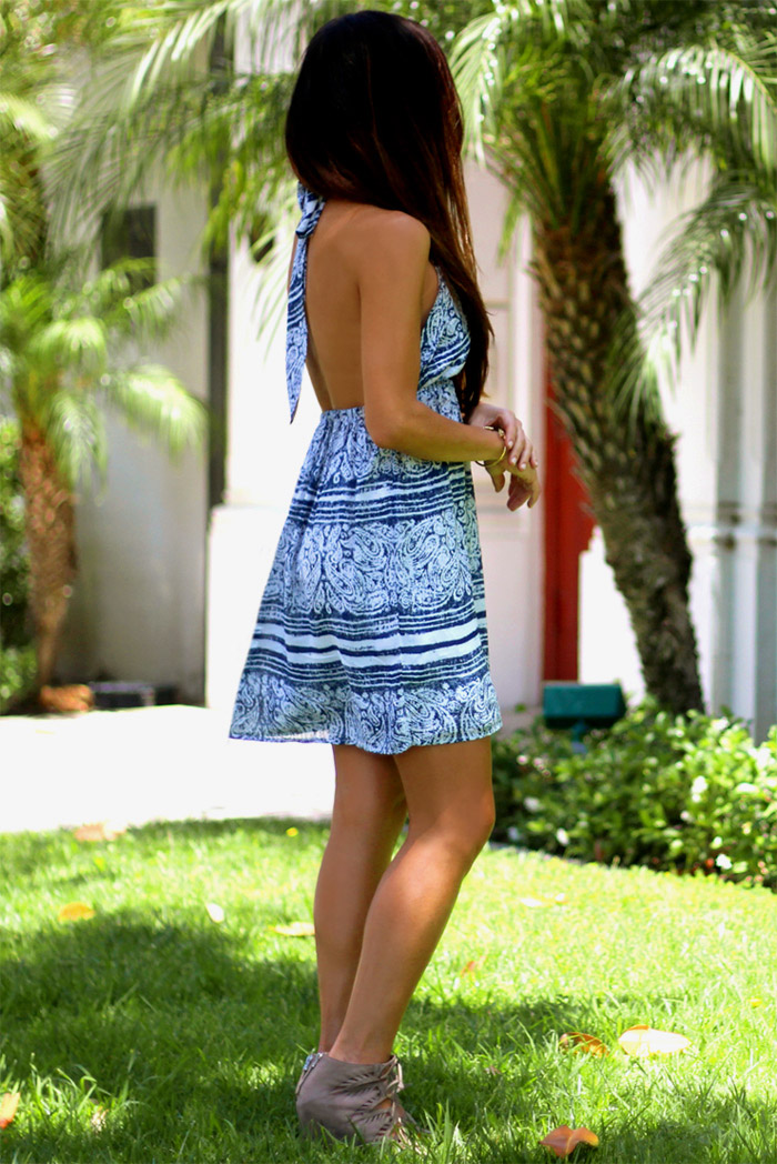 summers-here-Erika-Brechtel-boho-halter-dress-feather-bracelet-lace-up-wedges