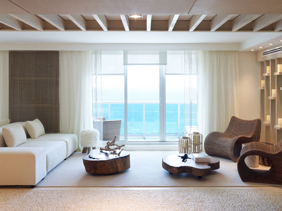 1 Sobe Miami High Rise Homes Design By Debora Aguiar Natural Refined Neutral Living Room Ocean