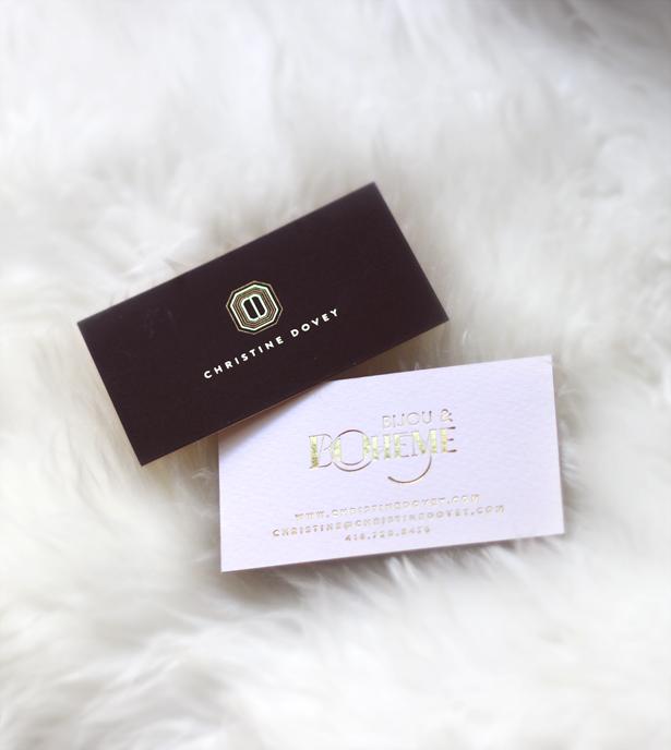 christine dovey brand logo biz card black blush gold foil by Erika Brechtel
